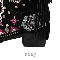 Femmes Brodé Fleur Côté Zipper Ethnic Suede Knee Haut Bottes Chaussures Casual