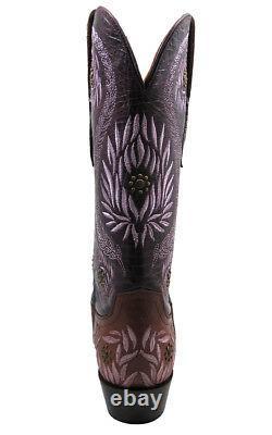Femmes Lucchese 1883 M4836. S54 Ornementale Laurel Leaf Cognac / Cowgirl Violet Boo