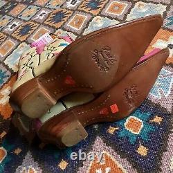 Femmes Nouveau Vintage Mex Rudel Pink Cream Floral Vine Pointy Cowgirl Boots Sz 7.5