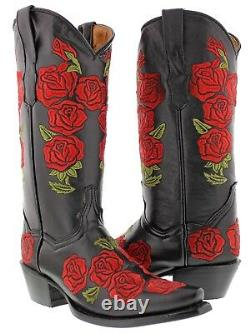 Femmes Rose Noire Rose Floral Embroidered Leather Cowgirl Boots Western Snip Toe