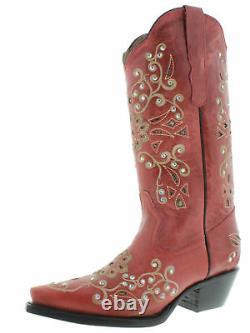 Femmes Snake Rouge Western Cuir Bottes Cowgirl Floral Strass Snip Toe