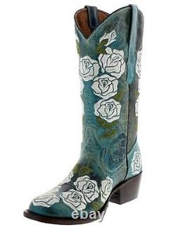 Femmes Turquoise Distressed Leather Cowgirl Boots Floral Rose Embroidered Round