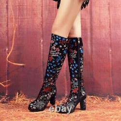 Femmes Vintage High Block Heel Knee High Boot Zipper Suede Floral Knight Bottes
