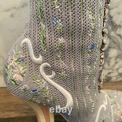 Fendi Rockoko Piste Gris En Tricot Floraux Brodés Sock Bottines (size9)