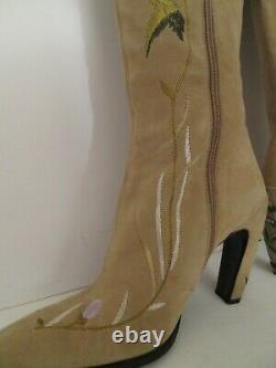 Fendi Western Boots Sz 8.5 Cuir Beige Brodé Italie Menthe Authentique