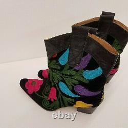 Galeri Cengiz Femmes Noir Floral Brodé Booties Taille 42 (9)