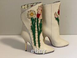 Gucci Fosca Bottes En Cuir Brodé Floral, Taille 36