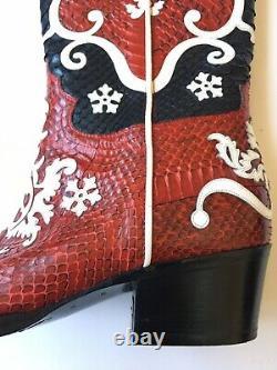 Gucci Mens Tom Ford Era Western Snakeskin Cowboy Boot Sz 11.5 Royaume-uni (12 Us) $4000