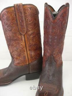 Hommes 11 D M Bottes De Cowboy Rocketbuster Brown Tooled En Cuir Floral Orteil De Snip États-unis