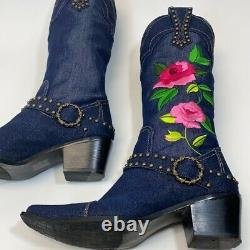 J Renee Floral Brodé Denim Cowboy Dakota Bottes De L'ouest Femmes Taille 8