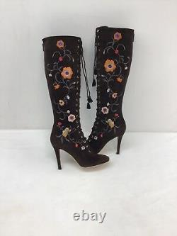 Jimmy Choo Brown Suede Embroidered Knee-high Boots Taille Eur 36 F2307/