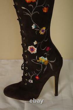 Jimmy Choo Colorado Long Boots Sz 37 7 Chaussures Fleurs Brodées Nouveau Genou Otk