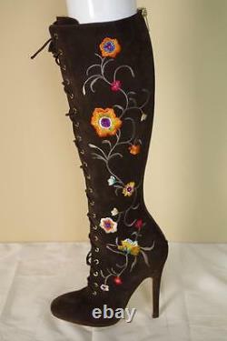 Jimmy Choo Colorado Longues Bottes Sz 37 7 Fleurs Brodé Chaussures New Otk Genou