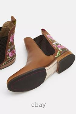 Joules Westbourne Brodé Chelsea Boot Woodland Tan Floral Size 4 Rrp £150