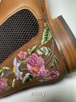 Joules Westbourne Brodé Chelsea Boot Woodland Tan Floral Taille 4 Prix De Vente Conseillé 150 £