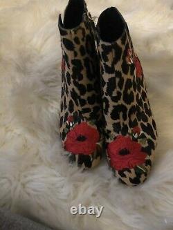 Kate Bêche Langton Femmes Leopard Calf Fur Floral Embroidery Booties Taille 7m