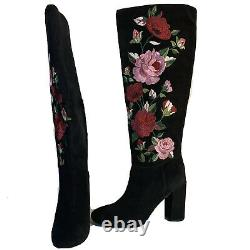 Kate Spade Boots Greenfield Flower Embroidered Black Knee High 9 $498 Détail