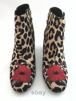 Kate Spade Bottines Langton Fur Leopard Print Embroidered Red Floral $378 Nouveau