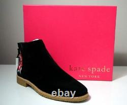 Kate Spade New York Bellville Floral Embroidered Suede Black Booties Taille 10.5