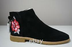 Kate Spade New York Bellville Floral Embroidered Suede Black Booties Taille 9
