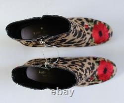 Kate Spade New York Langton Leopard Imprimer Brodé Floral Real Fur Bottes Sz 7