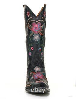L 696-15 Old Gringo Bonnie Pipin Vesuvio Black Pink Blue Floral 13 Botte En Cuir