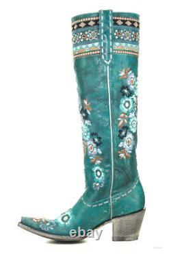 L3346-1 Old Gringo Pachamama Turquoise Floral Brodé 17 Bottes En Cuir Hautes