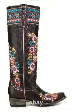 L3346-2 Old Gringo Pachamama Expresso Brown Floral Brodé 17 Grand Cuir