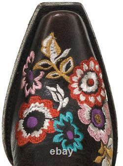 L3346-2 Vieux Gringo Pachamama Expresso Marron Brodé Floral 17 Tall Leather