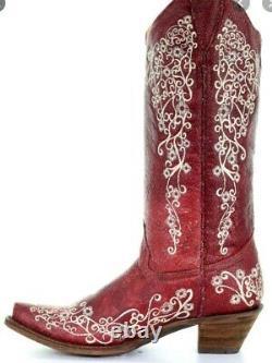 Lady Corral Dans Les Bottes Rouges, Taille 7. T.n.-o.! Bottes De L'ouest, Bouts D'orteil