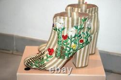 Laurence Dacade Pete Striped Floral Embroidered Ankle Boots Sz Us 7/it 38 900 $