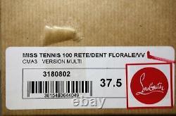 Louboutin 37.5 Miss Tennis 100 Bleu Multi Floral Point Toe Bottes Bootie Nouveau Chaussures