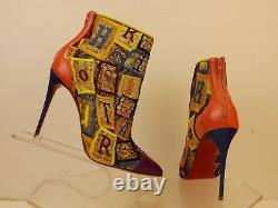Louboutin Gipsybootie 100 Multicolor Embroidered Net Ankle Zip Boots Pompes 39