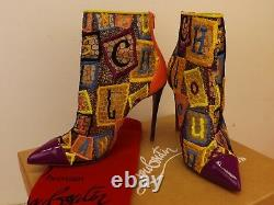 Louboutin Gipsybootie 100 Multicolor Embroidered Net Ankle Zip Boots Pumps 37 Louboutin Gipsybootie 100 Multicolor Embroidered Net Ankle Zip Boots Pumps 37 Louboutin Gipsybootie 100 Multicolor Embroidered Net Ankle Zip Boots Pumps 37 Loubou