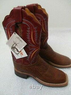 Lucchese 2000 Handcrafted Western Cowboy Leather Boots Taille 7 1/2 B Nouveau