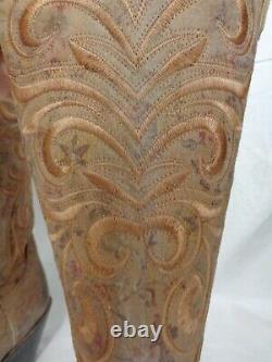 Lucchese Femmes M4951 Marron Floral Imprimé Botte En Cuir 13 Pouces Arbre 296 $