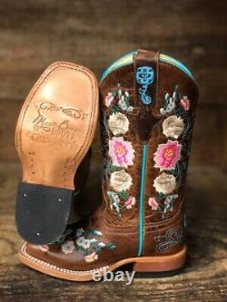 Macie Bean Youth Honey Bunch Floral Brodé Square Toe Western Boots Mk9012