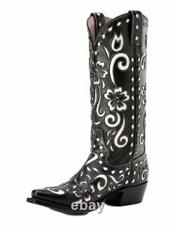 Miss Macie Women's Black White Southern Grace Snip U6001-01 Boots T.n.-o. 6,5-8 M