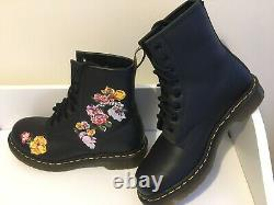 New Dr Martens Vonda Boots D'enkle Floral Embroided Softy Leather Size 6 39