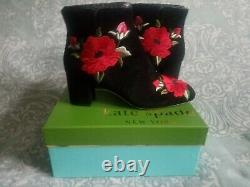 New Kate Spade New York Langton Embroidered Suede Booties Taille 10.5 B(m)