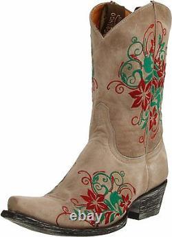 New Old Gringo Western Pull-on Floral Brodé Femmes Bottes De Cow-boy En Cuir 9,5