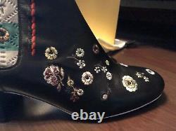 Nib Fendi 40 Us 10 Brodé Marie Antionette Booties Flowers $1100 Bottes 10.5