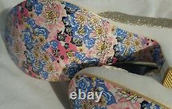 Nib Irregular Choice White Gold Glitter Ribbon Fleur Booties Euro 40 9m