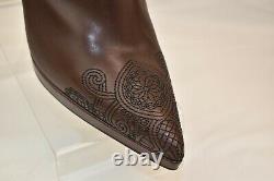 Nib Prada Brown Distressed Zip Cuir Genou Brodé Haut Escarpins Bottes 40,5