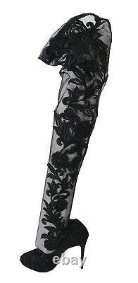 Nouveau $1980 Dolce & Gabbana Boots Black Floral Embroidered Socks Shoes Eu39 /us8.5