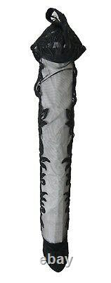Nouveau $ 1980 Dolce & Gabbana Bottes Noires Floraux Brodés Chaussettes Chaussures Eu40 /us9.5