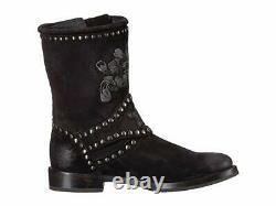 Nouveau Dans La Boîte Femmes Frye Nat Flower Engineer Black Suede Boots Taille 6 Pdsf 528 $