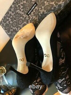 Nouveau Dolce & Gabbana Noir Stretch Talons Bottes Bottes Chaussures Taille 38/us7.5