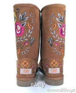 Nouveau Nib Ugg Juliette Brodé Chestnut Brown Suede Uggpure (tm) Womens Boot 6