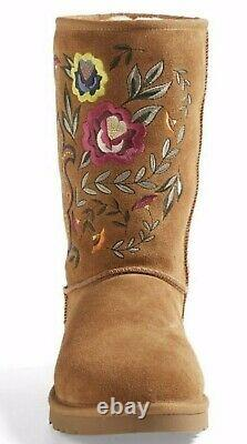 Nouveau Nib Ugg Juliette Broded Chestnut Brown Suede Womens Boot 7, Runs Small